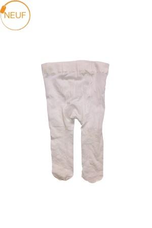 Collants blancs avec petits poids Fille 3-6 mois